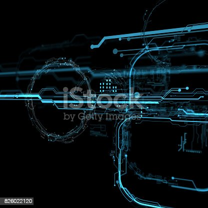 827387052 istock photo 3d Futuristic user interface. Technological background 826022120