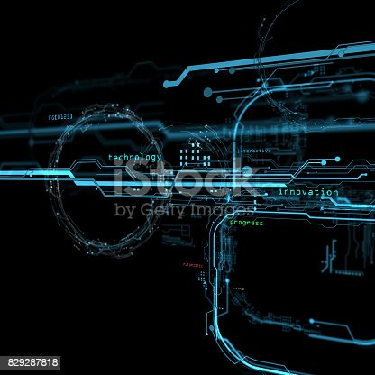 istock 3d Futuristic user interface. Technological background. Security data base. 829287818