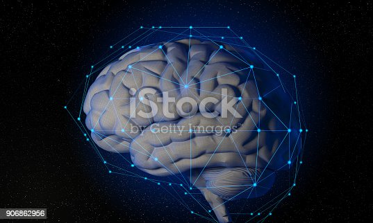 istock 3d Futuristic Wireframe Human Brain With Global Connections 906862956