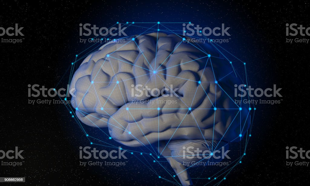 3d Futuristic Wireframe Human Brain With Global Connections stock photo