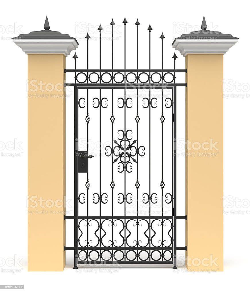 3d gate with wrought iron decor stock photo