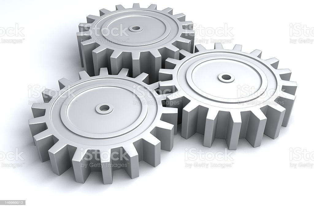 3d gears in motion stock photo
