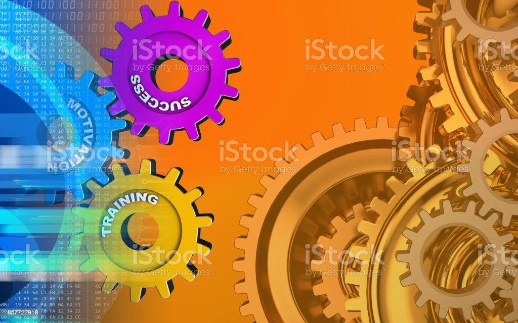 3d gears system stock photo
