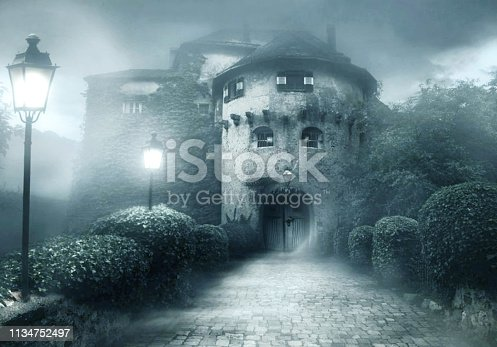 istock 3d generated illustration of an entrance of a scary haunted house 1134752497