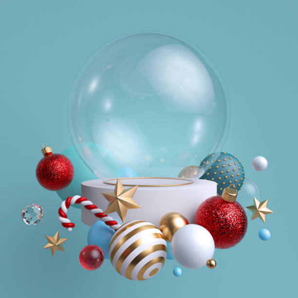 3d glass ball decorated with festive ornaments, isolated on blue background. blank mockup. glass balls, crystal stars, candy cane. - vacations food stock pictures, royalty-free photos & images