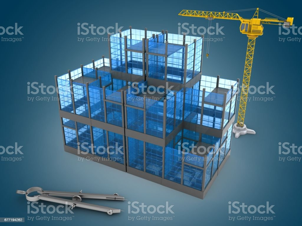 3d glass building stock photo