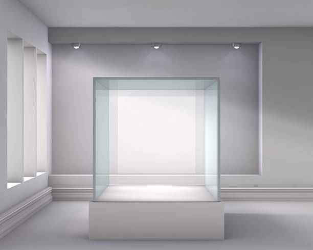 3d glass showcase and niche with spotlights - retail display stock photos and pictures