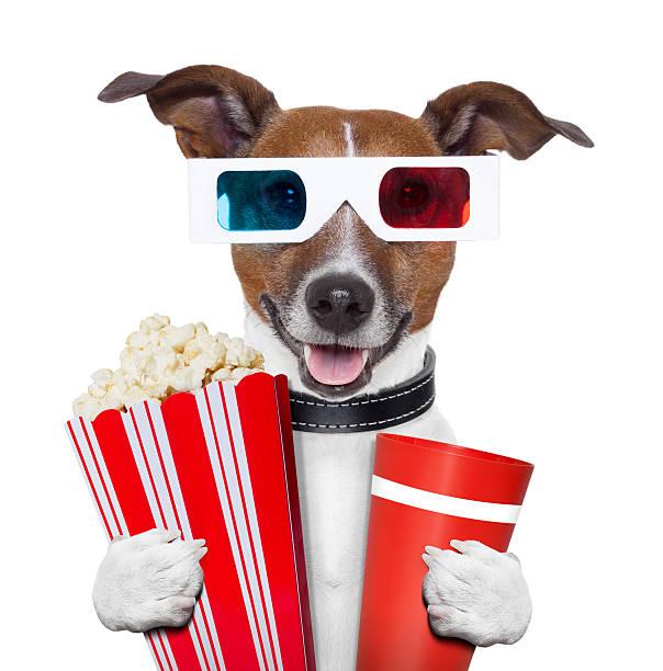 3d glasses movie popcorn dog stock photo