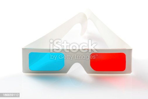 507793335 istock photo 3d glasses on white background 186659112