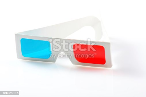 507793335 istock photo 3d glasses on white background 186659115