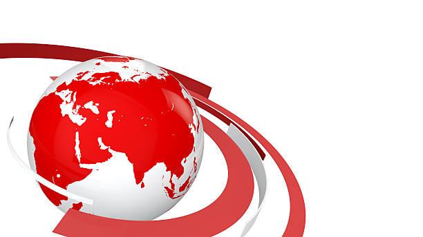 3d globe with red and white lines - jorden nyheter bildbanksfoton och bilder