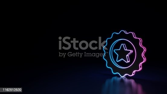 istock 3d glowing neon symbol of symbol of badge isolated on black background 1162512520