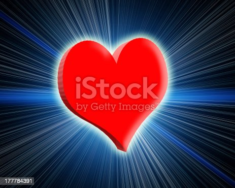 istock 3d glowing red heart. Rays and glow around. 177784391