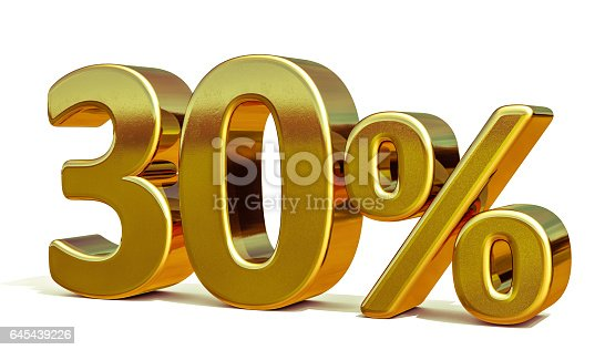 istock 3d Gold 30 Thirty Percent Discount Sign 645439226