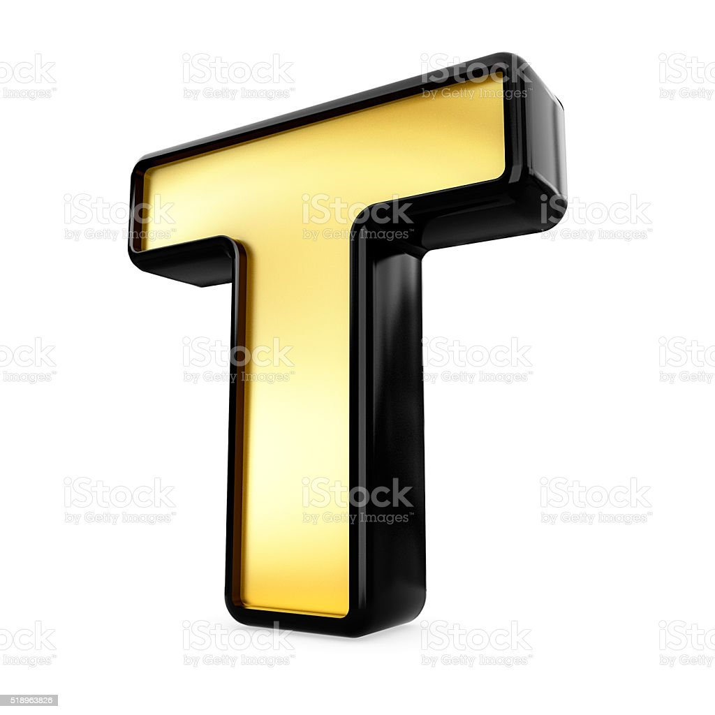 Metal Letter T 3D Gold And Black Metal Letter T Isolated White Background Stock