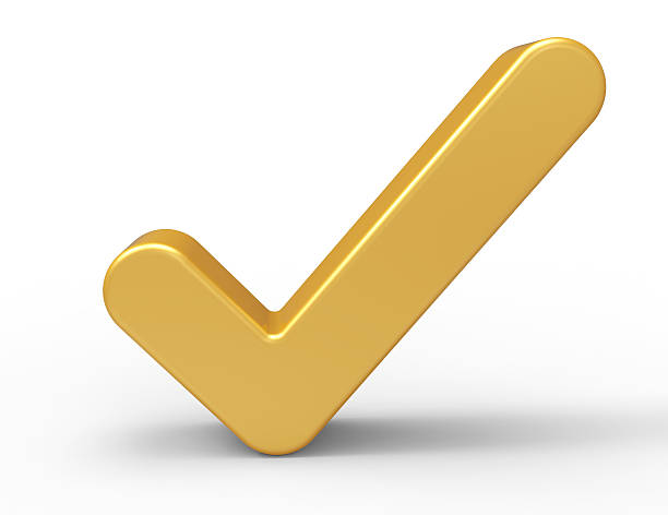 3d Gold Check Mark stock photo