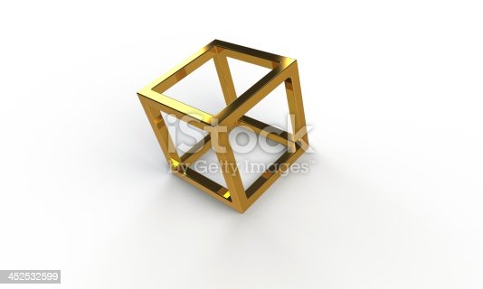 istock 3d gold cube frame structure isolated on white 452532599