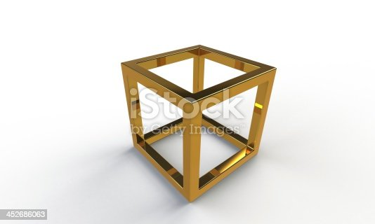 istock 3d gold cube frame structure isolated on white 452686063