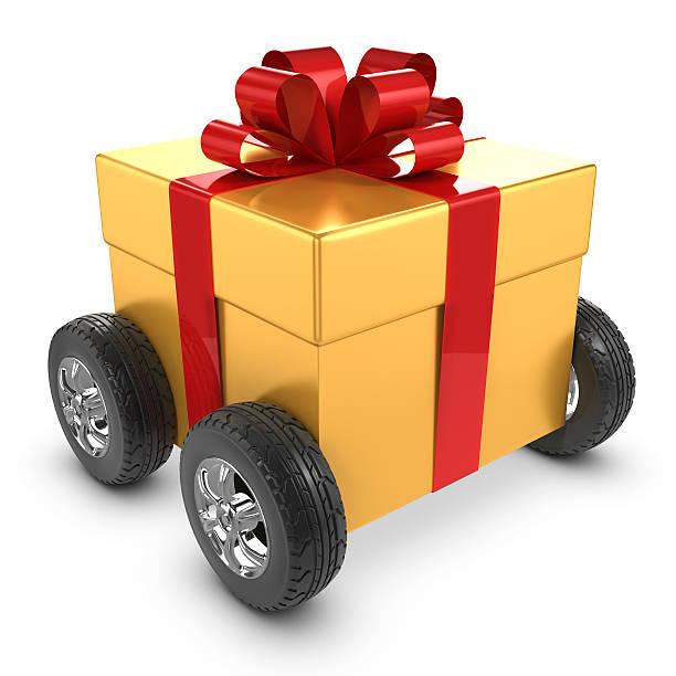 3 d gold geschenk auf rädern - autoschleifen stock-fotos und bilder