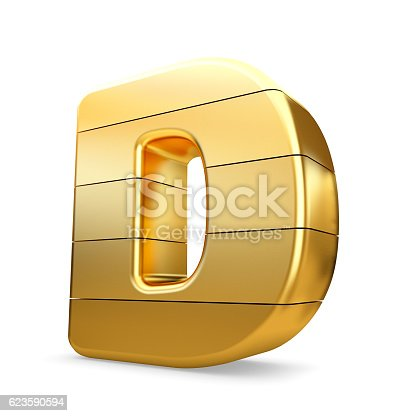 184385936 istock photo 3d gold letter D isolated white background. 623590594