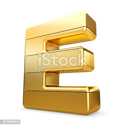 673234458 istock photo 3d gold letter E isolated white background. 623590624