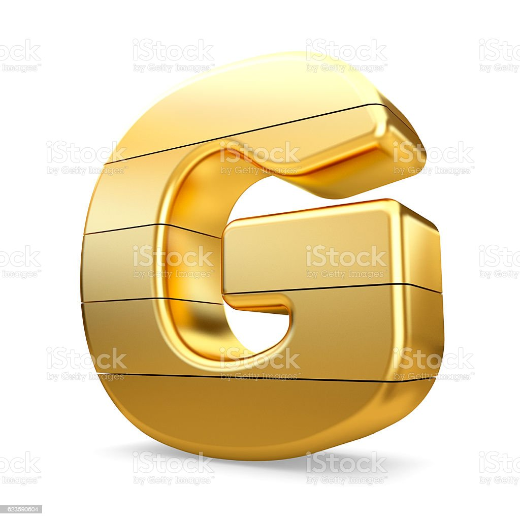 3d gold letter G isolated white background. stock photo