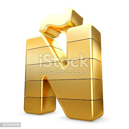 673234458 istock photo 3d gold letter Ñ isolated white background. 623590680