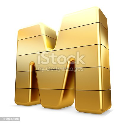 673234458 istock photo 3d gold letter M isolated white background. 623590656