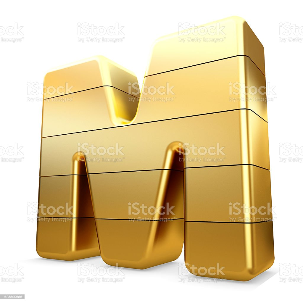 3d gold letter M isolated white background. stock photo