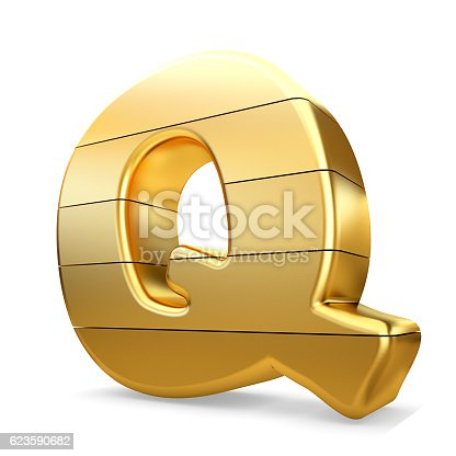 673234458 istock photo 3d gold letter Q isolated white background. 623590682