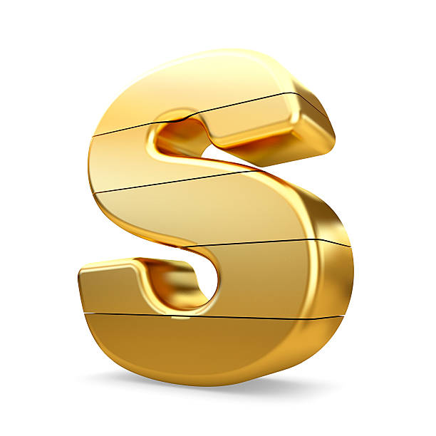 3d gold letter S isolated white background. stock photo