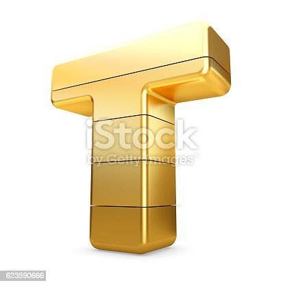 673234458 istock photo 3d gold letter T isolated white background. 623590666