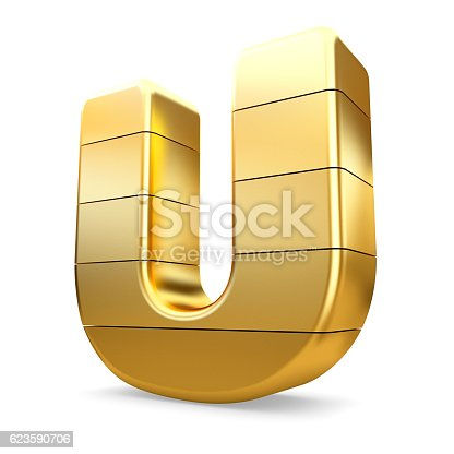 673234458 istock photo 3d gold letter U isolated white background. 623590706