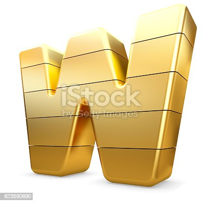 673234458 istock photo 3d gold letter W isolated white background. 623590690