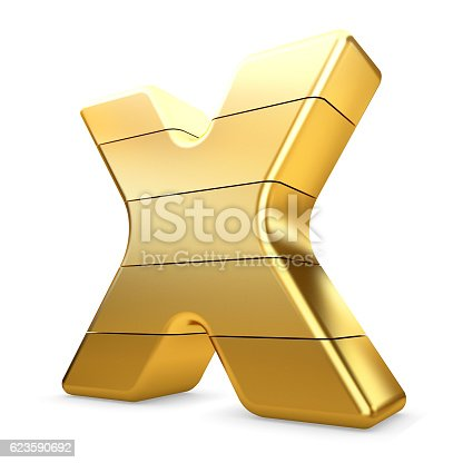 673234458 istock photo 3d gold letter X isolated white background. 623590692