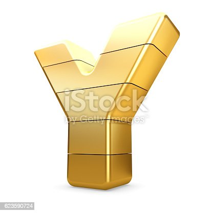 673234458 istock photo 3d gold letter Y isolated white background. 623590724