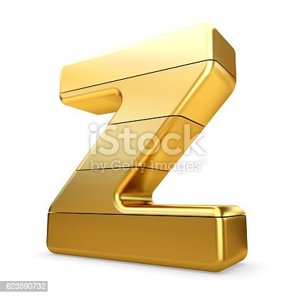 673234458 istock photo 3d gold letter Z isolated white background. 623590732