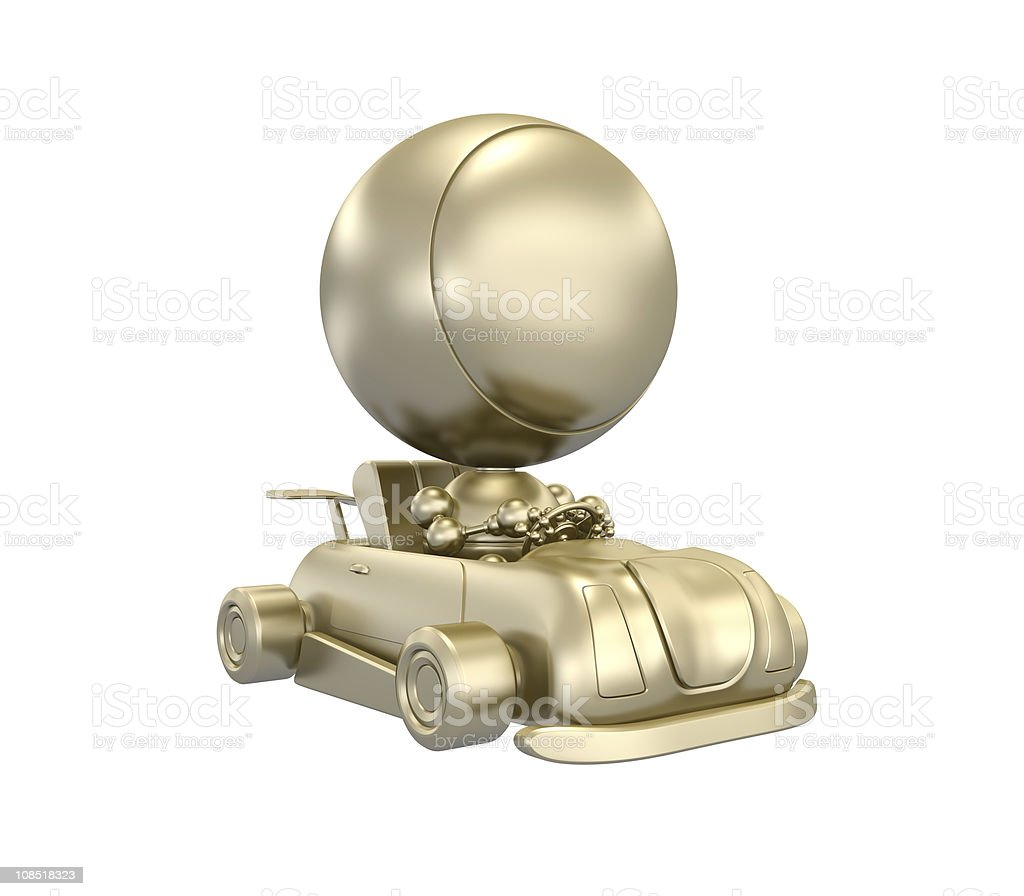 3d Gold man in Golden car royalty-free stock photo