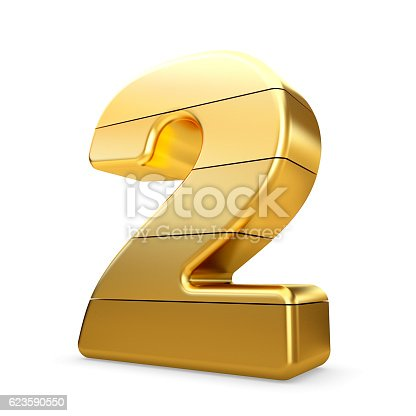 673234458 istock photo 3d gold number 2 two isolated white background. 623590550