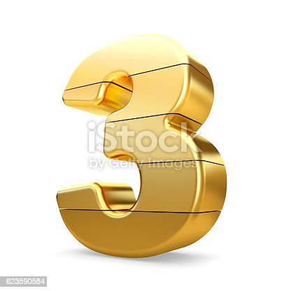 673234458 istock photo 3d gold number 3 three isolated white background. 623590584