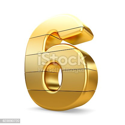 673234458 istock photo 3d gold number 6 six isolated white background. 623590720
