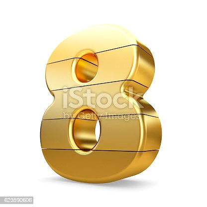 673234458 istock photo 3d gold number 8 eight isolated white background. 623590606