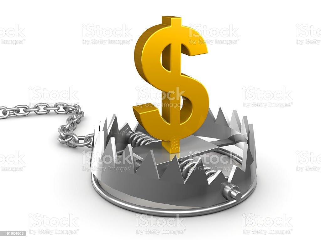 3d Gold US Dollar trap stock photo