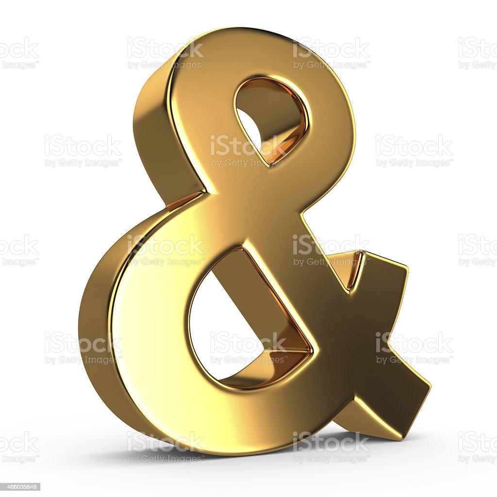 3d golden ampersand stock photo