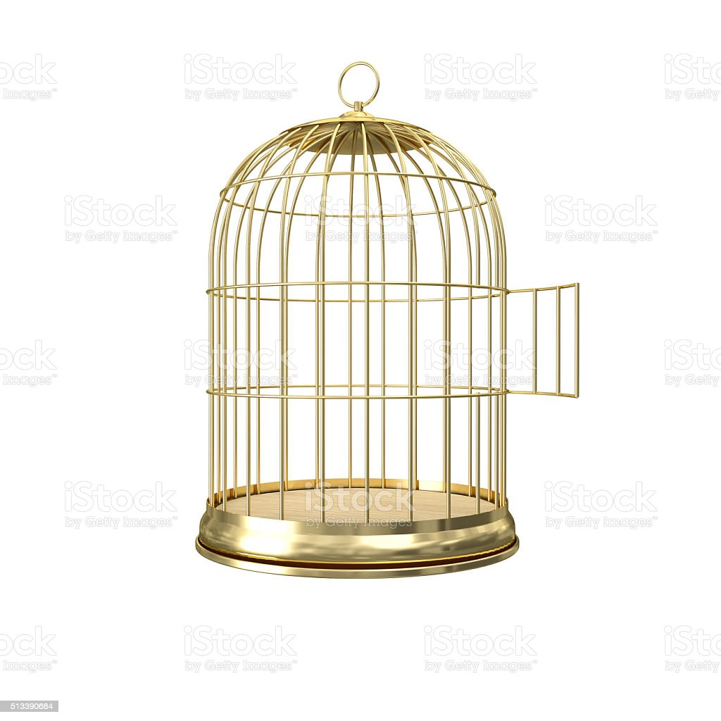 3d golden birdcage stock photo