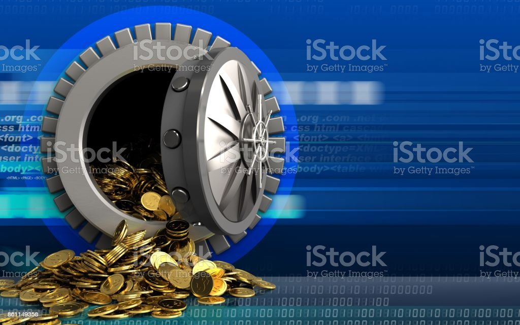 3d Golden Coins Over Cyber Stock Photo - Download Image Now