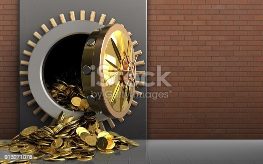 istock 3d golden coins over red bricks 913271078