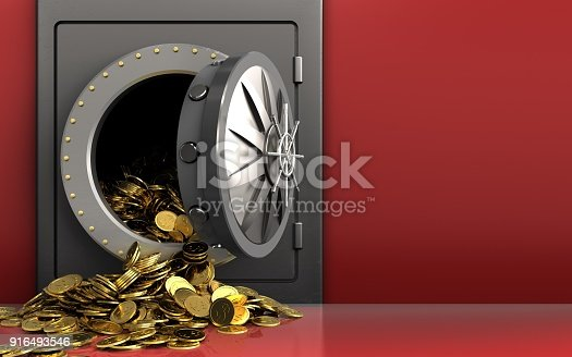 istock 3d golden coins over red 916493546