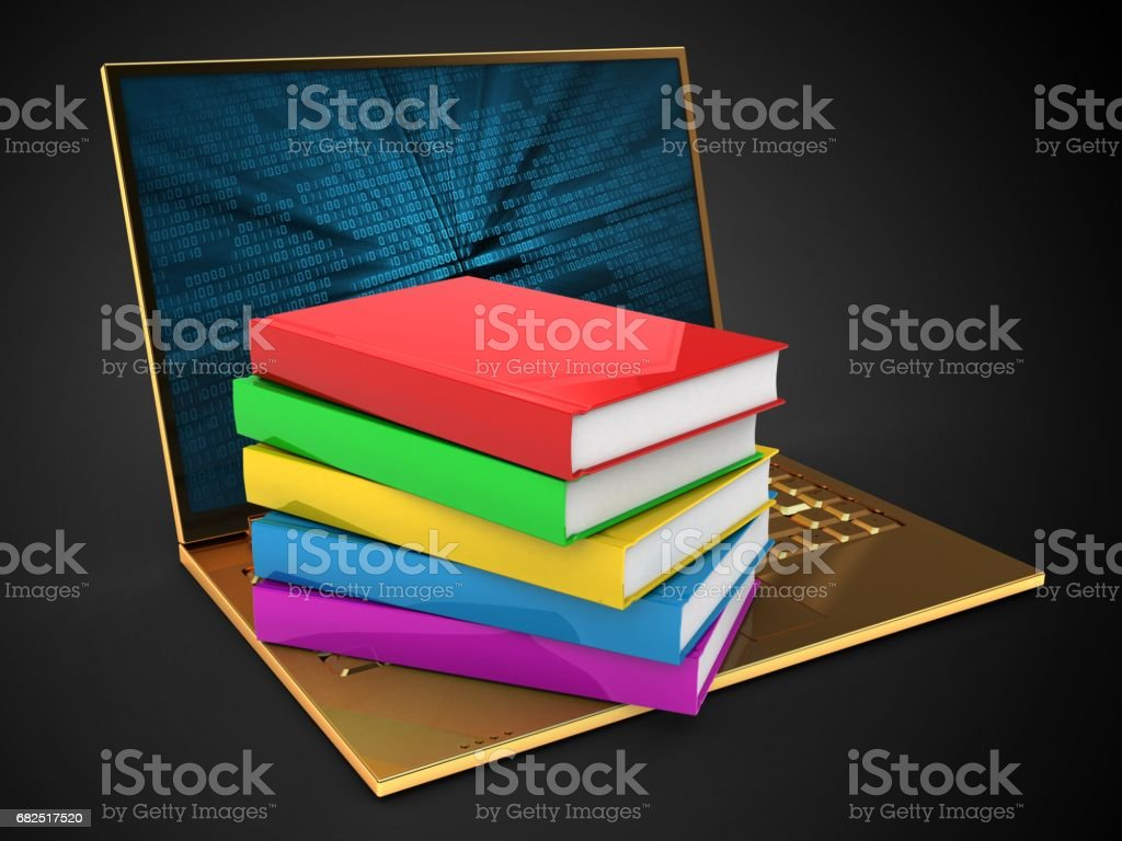 3d golden computer and books royalty-free stock photo
