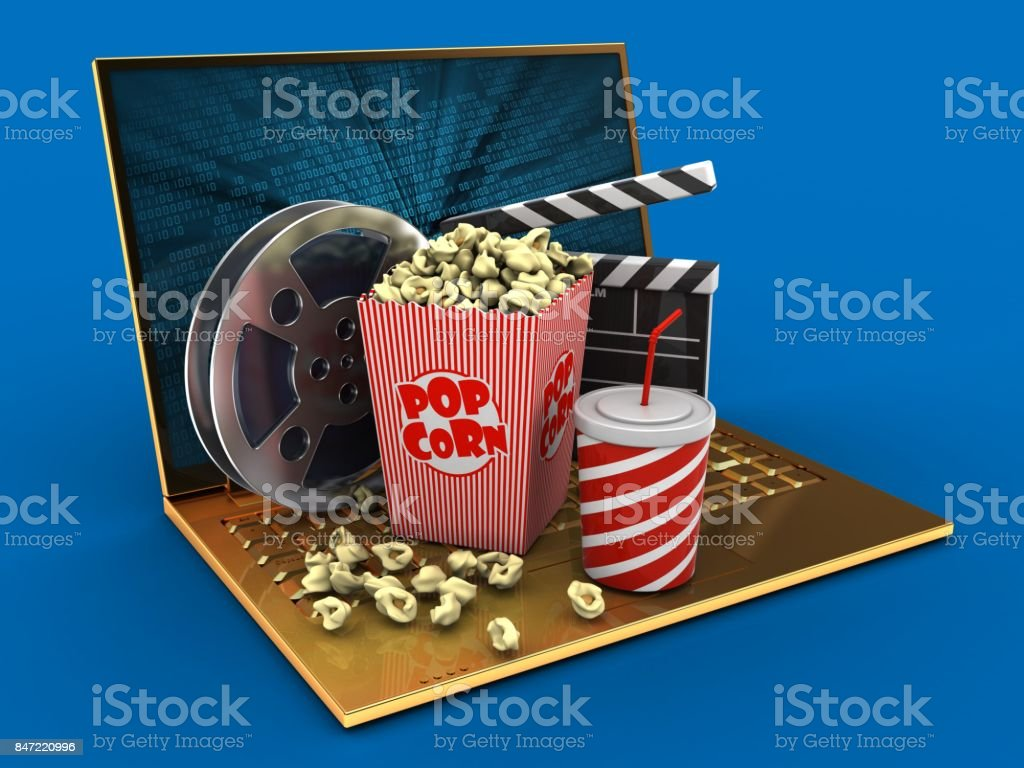 3d golden computer and cinema stock photo